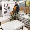 Table basse en béton - Bleu Noir Brut