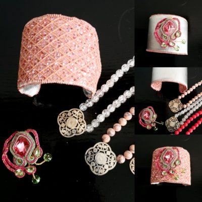 Manchette et Manchon réversible rose et argent - Solal Bijoux